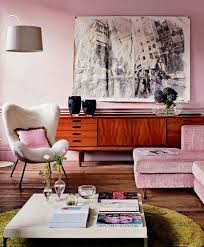 retro living room in pastel pink interiors by color