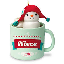 niece hot cocoa mug and marshmallow snowman ornament keepsake