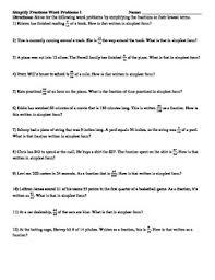 simplify fractions word problems 2 worksheets by reincke u0027s