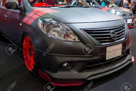 nissan thailand bangkok thailand june 22 2013 modified nissan almera on stock