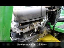 john deere riding mower oil change lawn tractor la 105 youtube