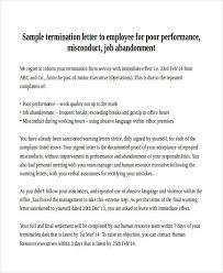 poor performance termination letter sample termination letter for