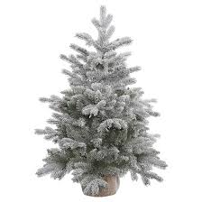 3ft unlit white frosted pine artificial tree with burlap