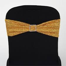 spandex chair sash 5 pack gold metallic shiny glittered spandex chair sashes for