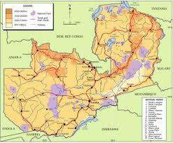 map of zambia zambia key geographical features zambia reliefweb