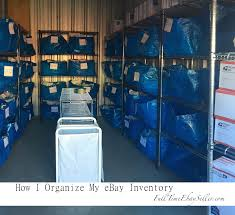 how they organize their ebay inventory using ikea blue bags and a