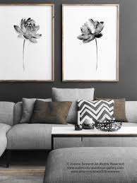 Asian Wall Fans by Lotus Set 2 Print Asian Flowers Abstract Painting Black And