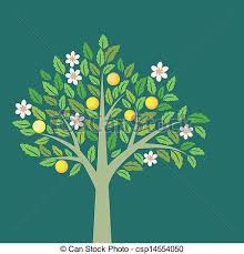 fruit and flowers fruit tree with ripe apples and flowers clipart vector search