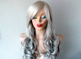 ombre wig lace front wig gray wig long curly wig salt