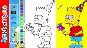 simpsons coloring pages for kids bart simpson eating ice cream