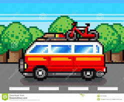 pixel art car car going for summer holiday trip retro pixel illustration stock