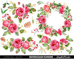 watercolor flower clipart wedding floral clip floral