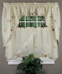 Fancy Kitchen Curtains Embroidered Sunflower Tiers Swags Discount Kitchen Curtains