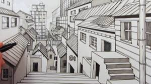 how to draw a city using 1 point perspective narrated youtube