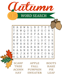 Fall Word Search Printable Activity Shelter Educative Puzzle