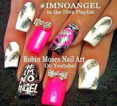 nail art imnoangel neon pink feather nails design tutorial