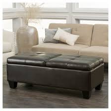 merrill double opening leather storage ottoman chocolate brown