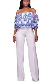 white wide leg jumpsuit blue embroidery floral shoulder ruffle overlay white wide leg