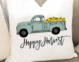 Thanksgiving Pillow Covers Autum Pillow Cover Happy Harvest Pillow Blue Truck Pillow