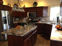 Kitchen With Brown Cabinets What Color Granite Goes With Cherry Cabinets Full Size Of