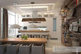 rustic modern interior modern kitchen island on wooden floor panels for