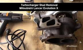 how to turbocharger stud removal mitsubishi lancer evolution x