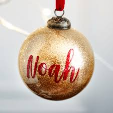 glitter gold personalised bauble glitter text handmade
