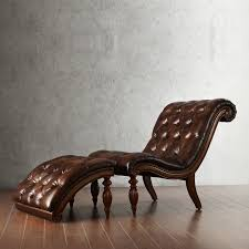 Tufted Chaise Lounge Classic Brown Leather Tufted Chaise Lounge Chair With Carved Wood