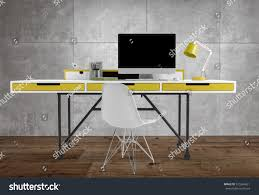 Thin Computer Desk Front View Thin Office Desk Yellow Stock Illustration 575564821