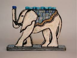 elephant menorah functional ceramics leslie roth painting illustrations