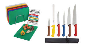 coloured kitchen knives hygiplas colour coded chopping boards kit knives
