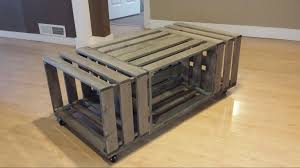rolling rectangle wood crate coffee table wood crate coffee