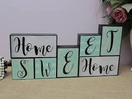 Decorative Letter Blocks For Home Home Sweet Home Wood Blocks Mantle Decor Wooden Letter
