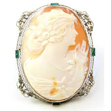 antique gold cameo necklace images Antique 14k white gold shell cameo emerald brooch pendant jpg