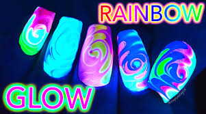 glow rainbow swirl nail art untz untz youtube