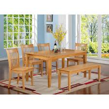 east west furniture cano6 oak w capri 6 piece dining set with