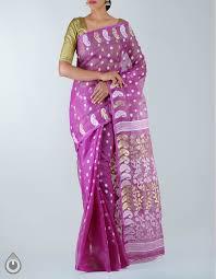 dhaka sarees online shopping for purple bengal katan jamdani tant silk cotton