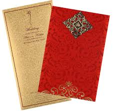 Invitation Card Cover Wedding Card In Elegant Gift Style With Red U0026 Golden Satin Royal