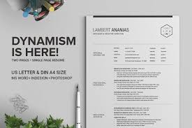 Two Page Resume 2 Pages Resume Cv Pack Lambert Resume Templates Creative Market