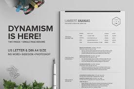 2 pages resume cv pack lambert resume templates creative market