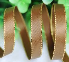 silk satin ribbon 10 yards 3 8 9mm solid brown glitter metallic edge satin ribbon