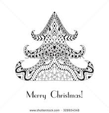 christmas card coloring pages christmas tree christmas card zentangle style stock vector