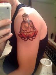 81 nice buddha tattoo on shoulder