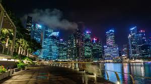 light for walking at night night light singapore city walking bay 4k time lapse stock video