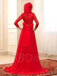red lace chiffon bowknot long sleeve muslim wedding dress