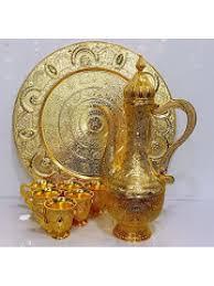 new gold set new gold plated zinc alloy printed boho arabic jug glasses tray