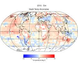 World Temperature Map October by Global Absolute Temperature Clive Best