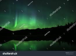 northern lights jasper national park northern lights above lake jasper national stock photo 604327778