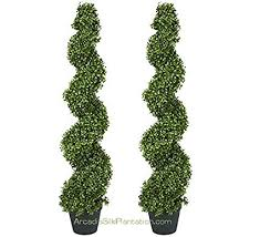 artificial trees two pre potted 4 spiral boxwood artificial topiary