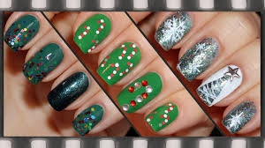 3 easy nail art for christmas candy cane glitter tree 3 идеи